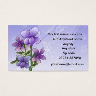 Flores violetas florales tarjeta de negocios