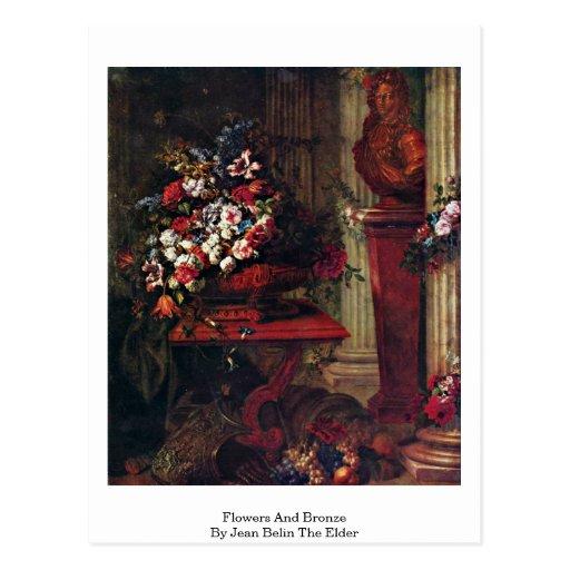 Flores y bronce de Jean Belin la anciano Postal