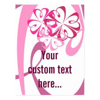Flores y cintas (editable) postal