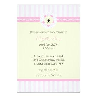 Flores y ducha rosadas del León-Bebé Invitación 12,7 X 17,8 Cm