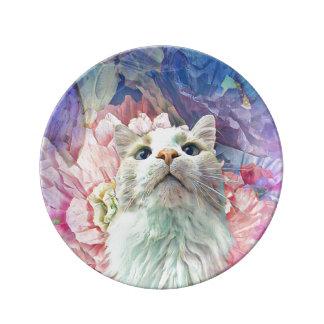 """Flores y Flutterbys 8,5"""" plato de porcelana"""