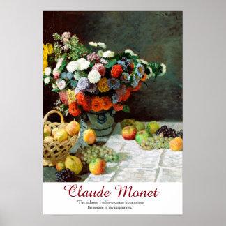 Flores y fruta de la cita del arte de Claude Monet