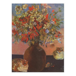 Flores y gatos - Paul Gauguin Postal