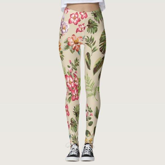 Flores y helechos leggings