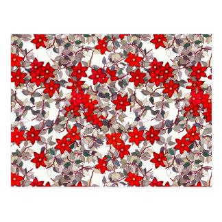 Flores y hojas rojas de los gris plateados postal