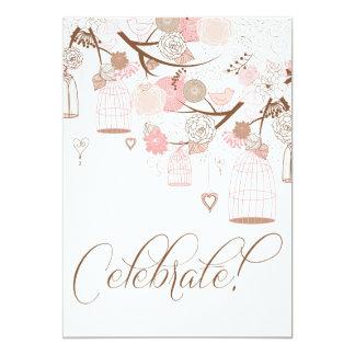 Flores y invitaciones rosadas del cumpleaños de invitación 12,7 x 17,8 cm