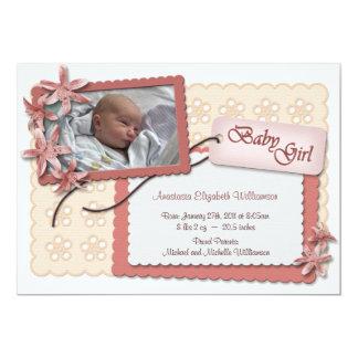 Flores y invitaciones rosadas del nacimiento del invitación 12,7 x 17,8 cm