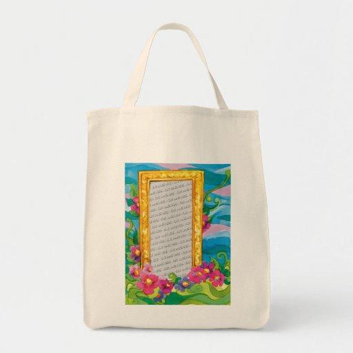 Flores y marco lindos para su foto - bolso bolsa tela para la compra