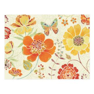Flores y mariposas coloridas postal