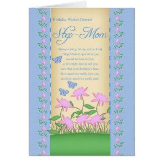 flores y mariposas de la tarjeta de cumpleaños de