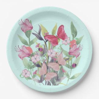 Flores y mariposas rosadas y rojas de la acuarela plato de papel