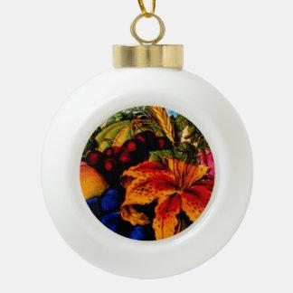Flores y ornamento del árbol de navidad de la frut adornos