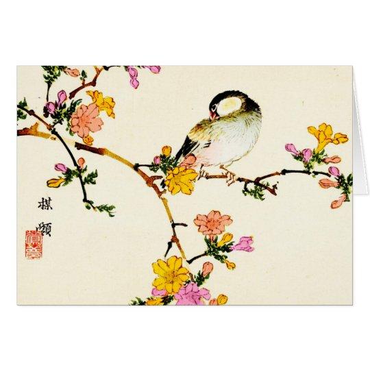 Flores y pájaro coloridos japoneses tarjeta de felicitación