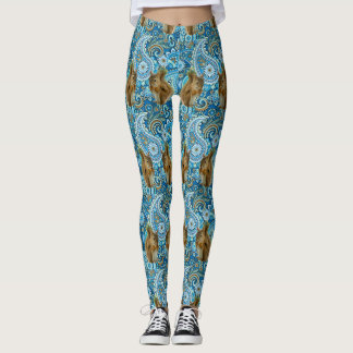 Flores y polainas coloridas enrrolladas de las leggings