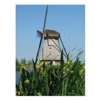 Flores y postal holandesa del molino de viento
