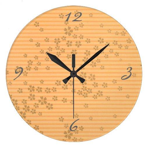 Flores y rayas de origami reloj de pared zazzle - Reloj de pared diseno ...