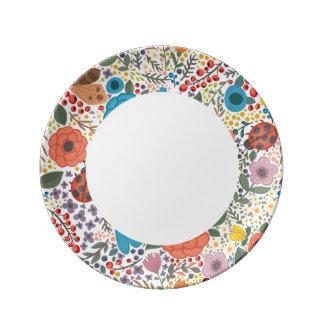Flores y señora dibujadas mano Bugs Plato De Porcelana