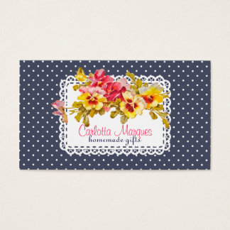 Flores y tapetito del pensamiento del vintage tarjeta de visita
