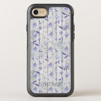 Flores y troncos de la lavanda en la madera blanca funda OtterBox symmetry para iPhone 8/7