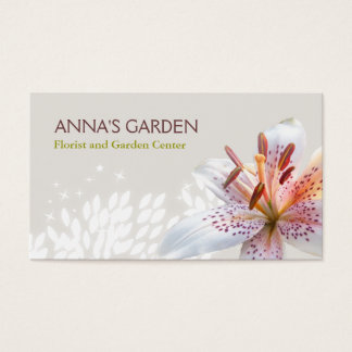 Florista del lirio tigrado y tienda blancos tarjeta de negocios