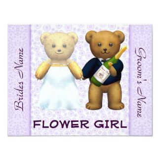 Florista - el boda de la lila de los osos de invitación 10,8 x 13,9 cm