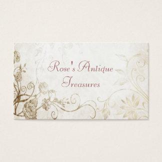 Floristería antigua elegante del oro tarjeta de visita