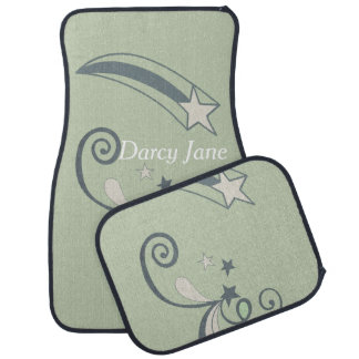 Flourish blanco personalizado del Shooting Stars Alfombrilla De Coche