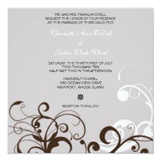 flourish; bodas de plata invitación 13,3 cm x 13,3cm