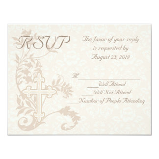 Flourish cruzado cristiano que casa la tarjeta de invitación 10,8 x 13,9 cm