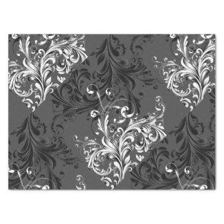 Flourish floral blanco y negro papel de seda
