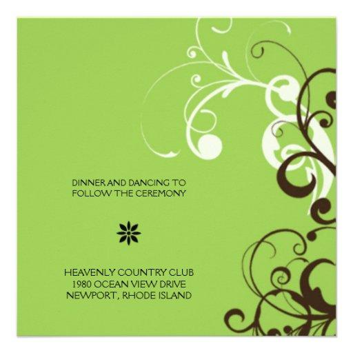 flourish; recepción verde invitacion personal