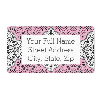 Flourish rococó rosado del modelo etiquetas de envío