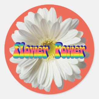 Flower power 2 pegatina redonda