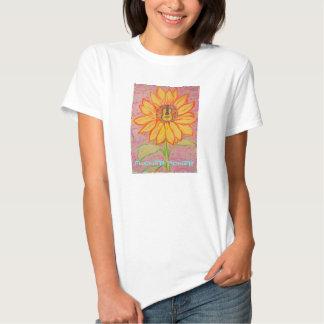 Flower power acústico del girasol camisetas