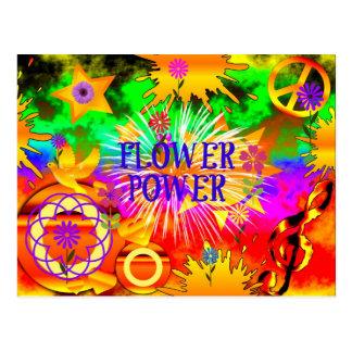 Flower power - adorno colorido de los años 60 postal