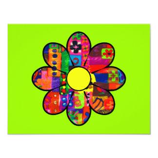 Flower power de los años 60 invitación 10,8 x 13,9 cm