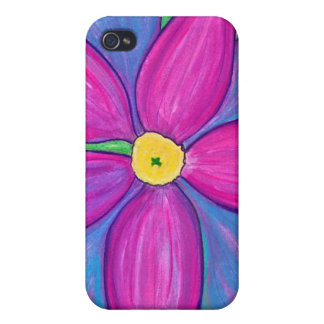 Flower power púrpura iPhone 4/4S fundas