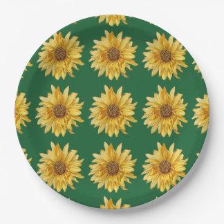Flowered diseñó, los girasoles - fondo verde plato de papel