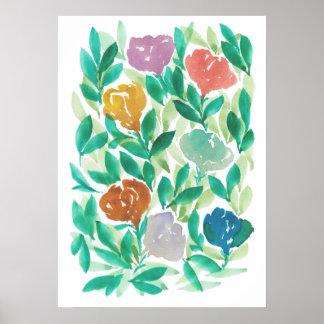 flowers1d pintado a mano póster
