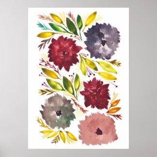 flowers1e pintado a mano póster