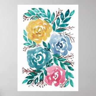 flowers2a pintado a mano póster