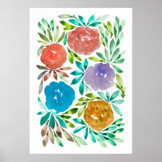 flowers2b pintado a mano póster