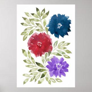 flowers2d pintado a mano póster