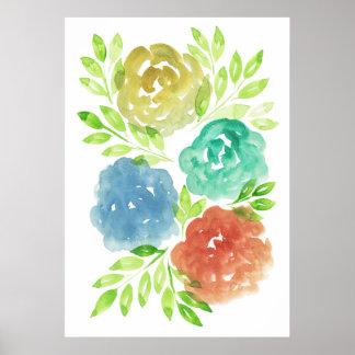 flowers2f pintado a mano póster