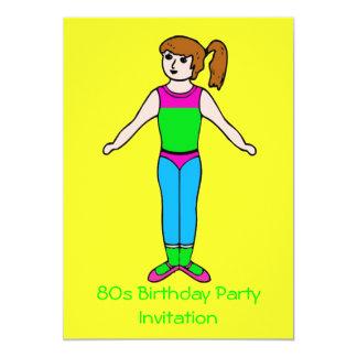 fluorescente retro temático de la invitación 80s