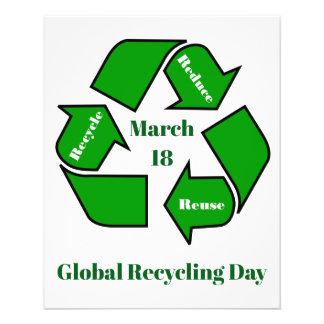Flyer 18 de marzo, diseño de reciclaje global del día