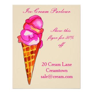 Flyer Anuncio de la sala de helado de la tienda del