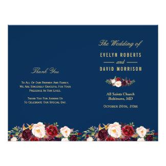 Flyer Azules marinos florales de Borgoña doblados