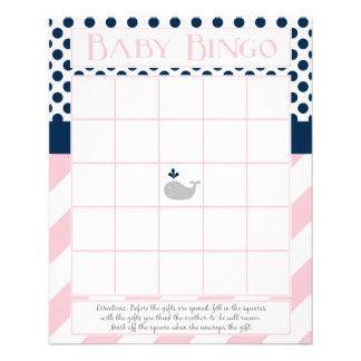 Flyer Bingo rosa claro y de la marina de guerra de la