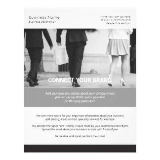 Flyer Blanco y negro temático del negocio por encargo